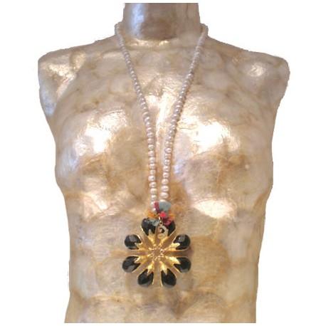 Flower Necklace - Black