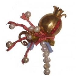 Grenades & Pearls Necklace - Coral