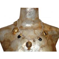 Pearls Necklace, Grenades & Bones - Amethyst