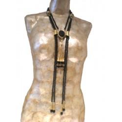 Double Black Tie Necklace